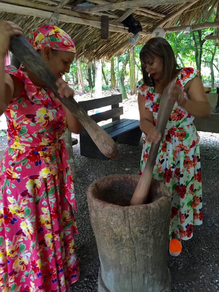 Pounding the cacao with huge wooden pestles