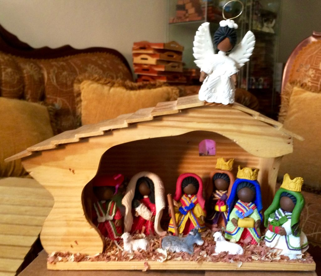 Nativity with angel above