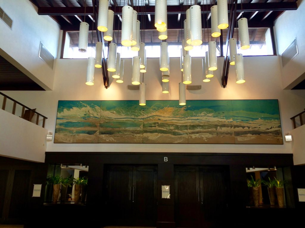 Mural & lighting above conference hall doors